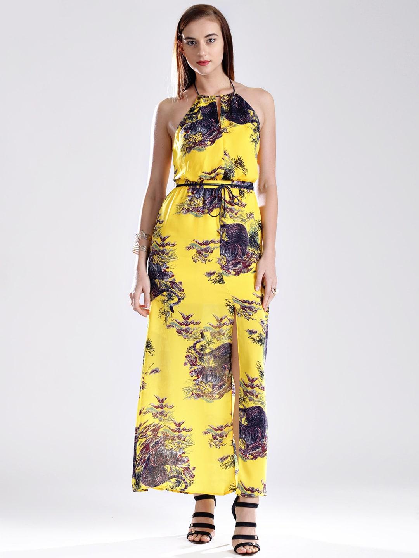 GUESS Yellow Printed Maxi Dress