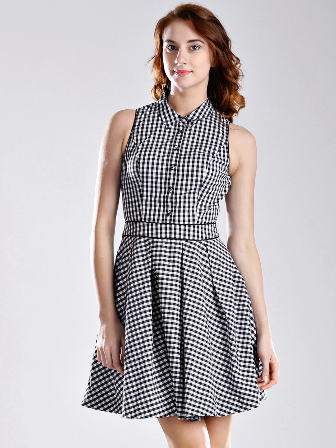 GUESS Black & White Checked Fit & Flare Dress
