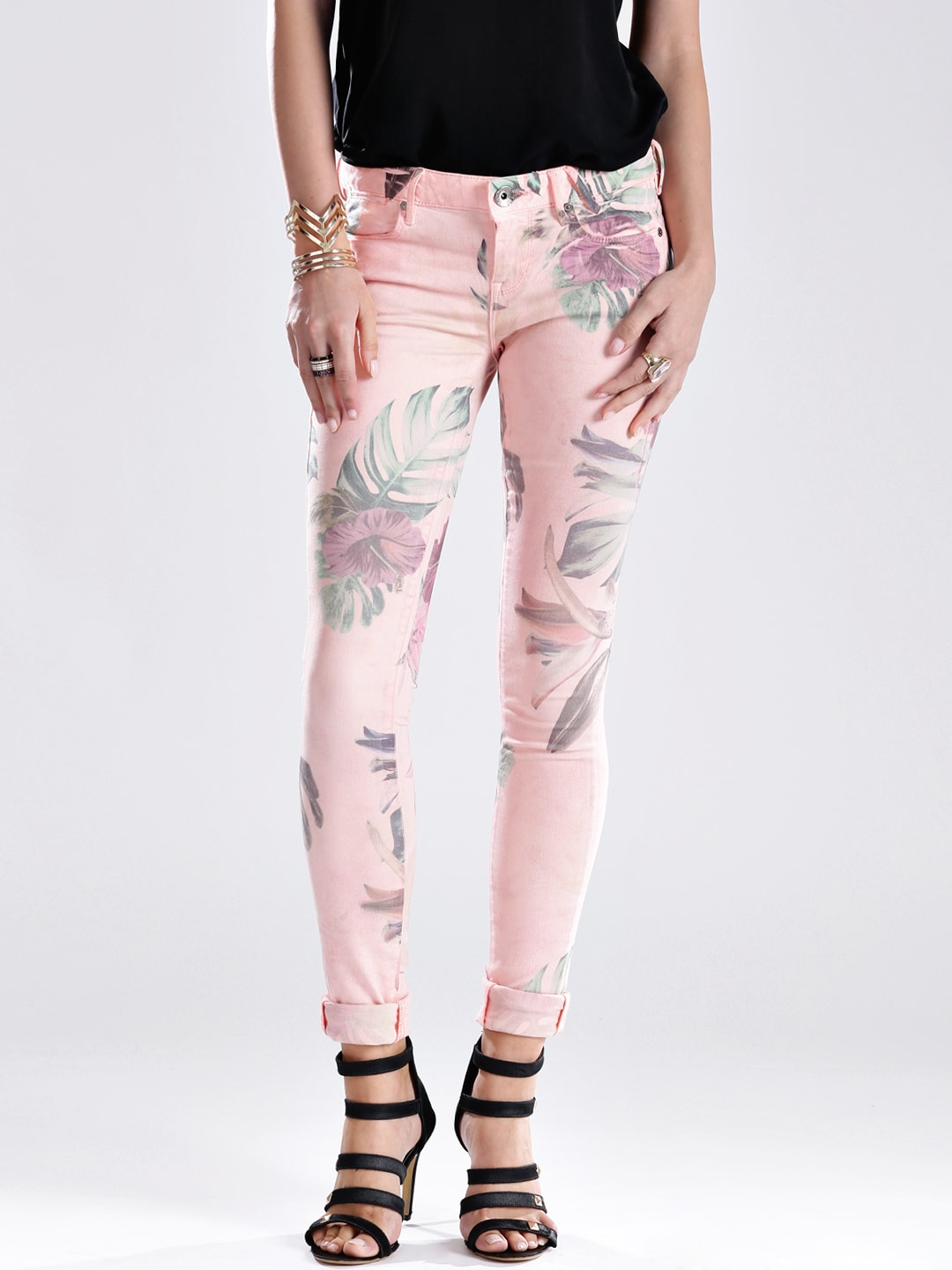 GUESS Pink Printed Ultra Skinny Fit Jeans