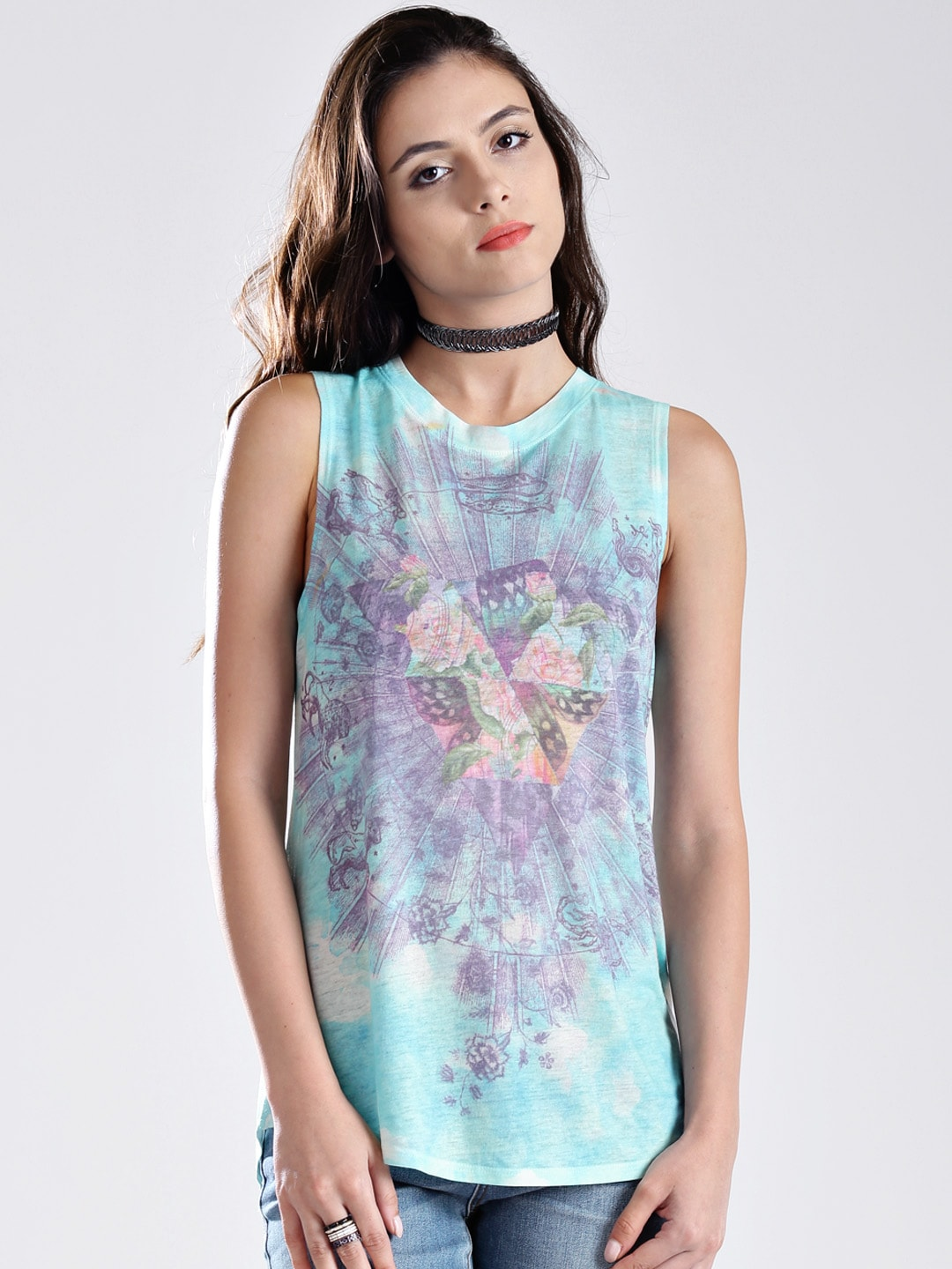 GUESS Multicoloured Printed Sleeveless T-shirt