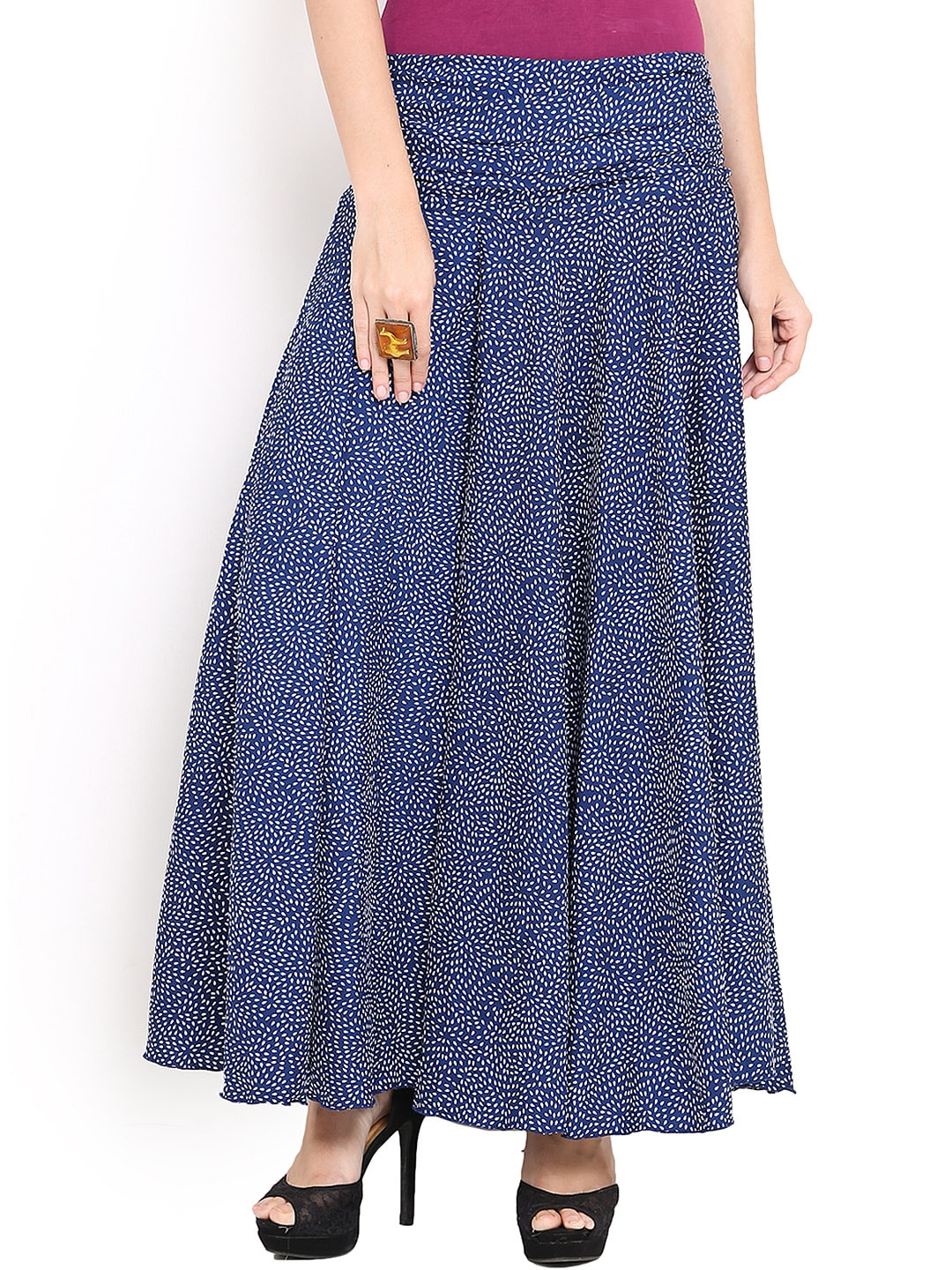 Trend Arrest Blue & White Printed Palazzo Trousers