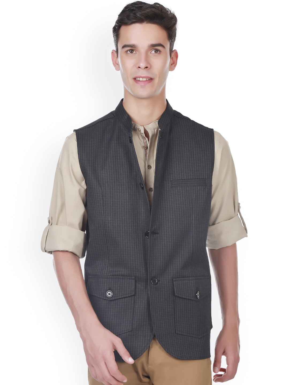 even Black Checked Slim Fit Nehru Jacket