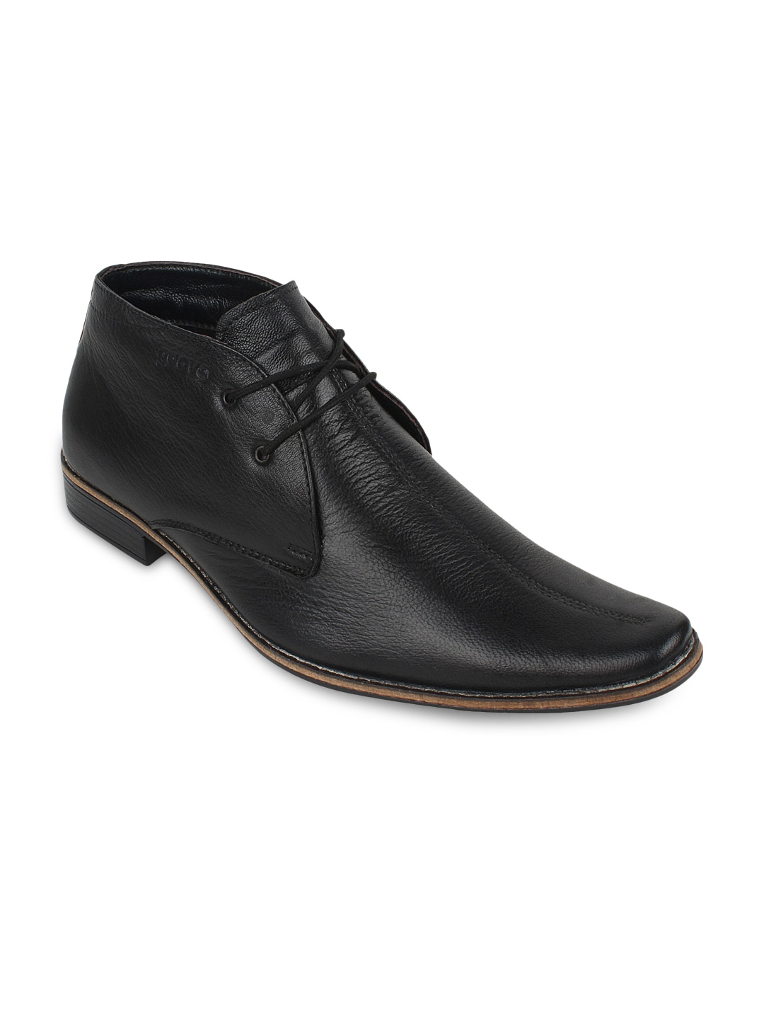 Guava Men Black Leather Semiformal Shoes