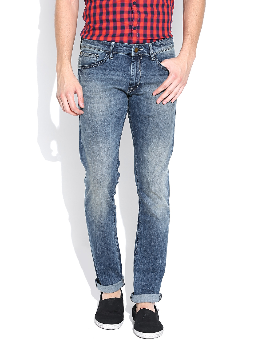 Allen Solly Blue Washed Tapered Jeans
