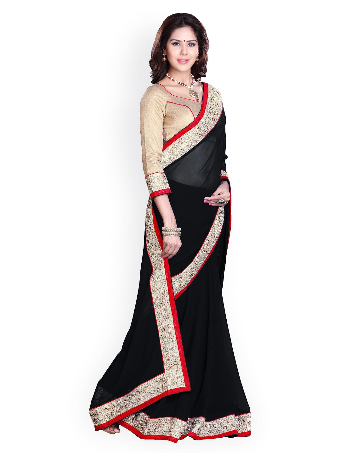 Mirchi Fashion Black Faux Georgette Embellished Saree with Embroidered Detail
