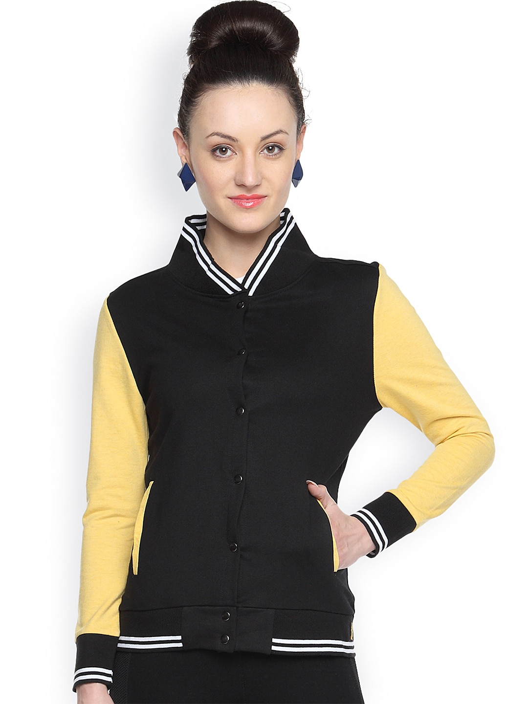 Campus Sutra Black & Yellow Thermal Jacket