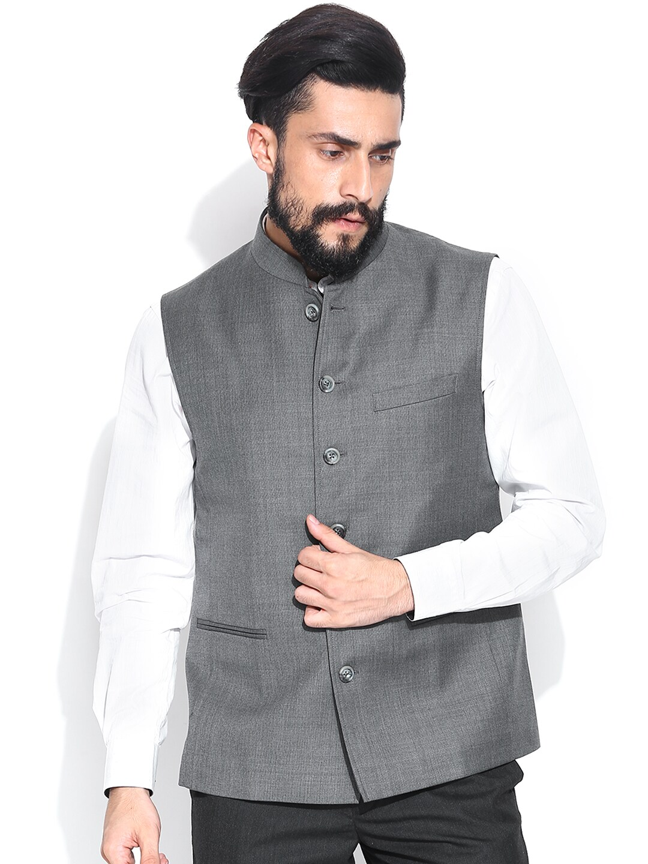 JADE BLUE Grey Nehru Jacket