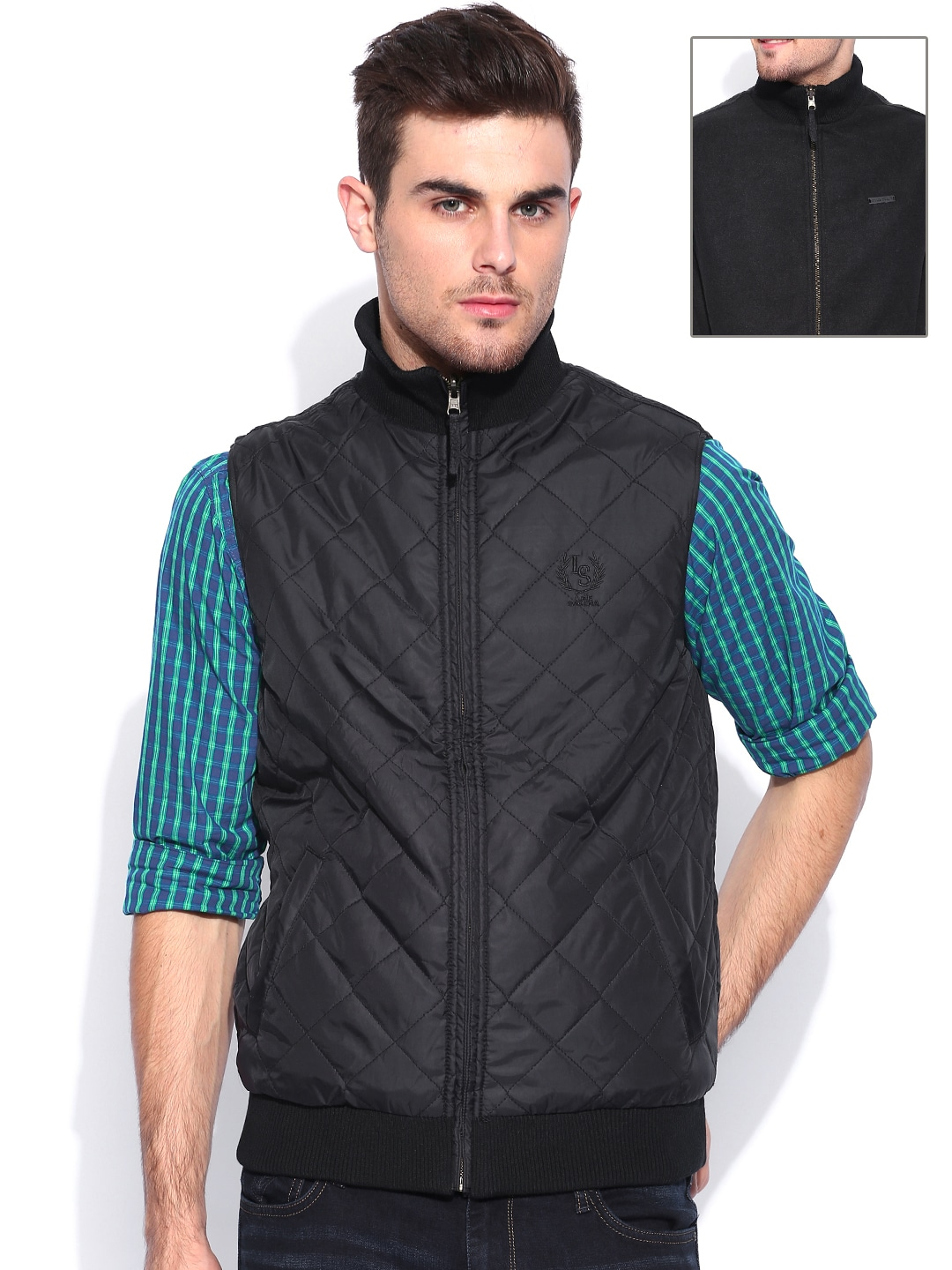 Lee Dark Green & Charcoal Grey Kingston Sleeveless Reversible Jacket