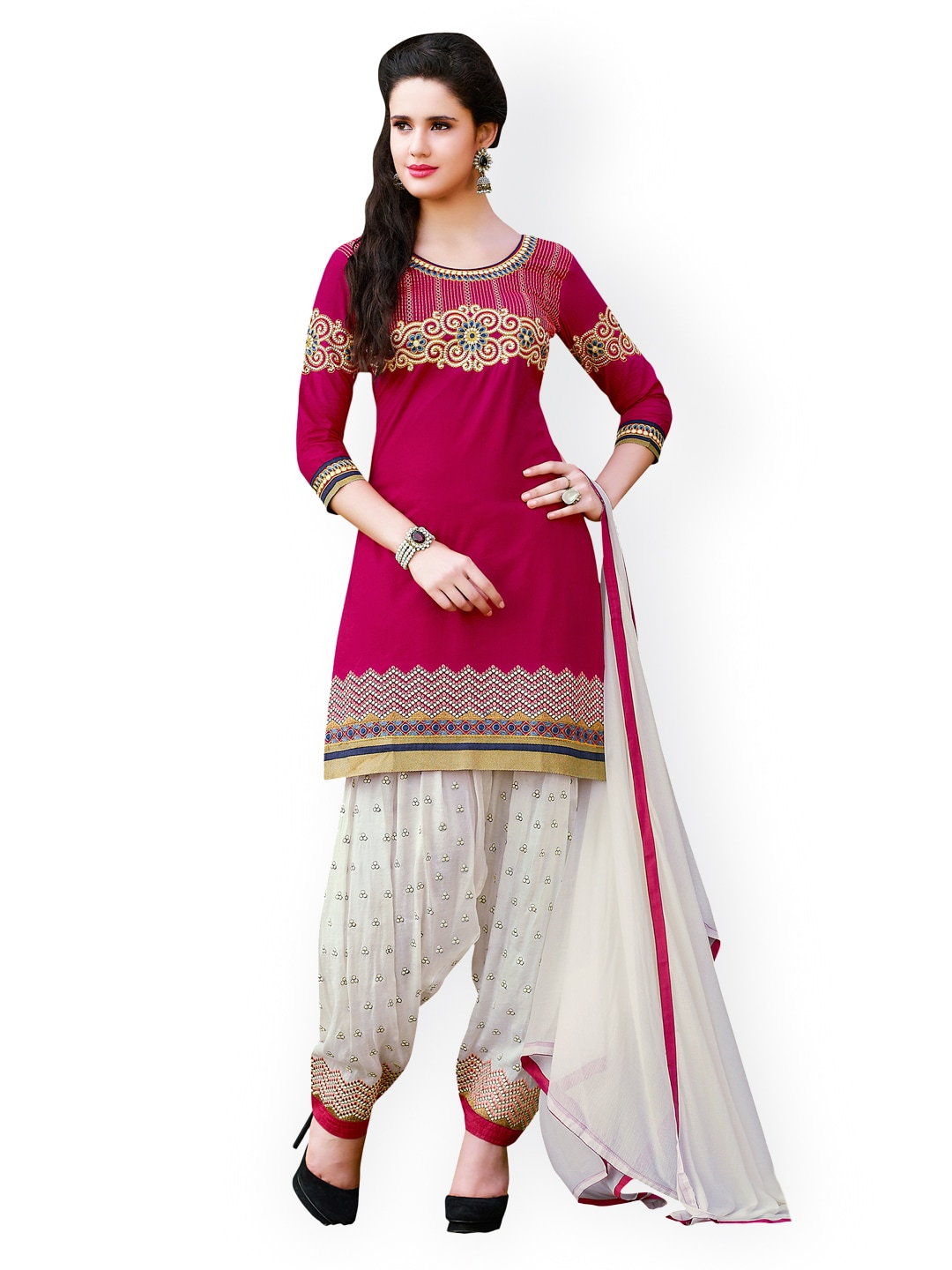 Kvsfab Pink & White Embroidered Cotton Unstitched Dress Material
