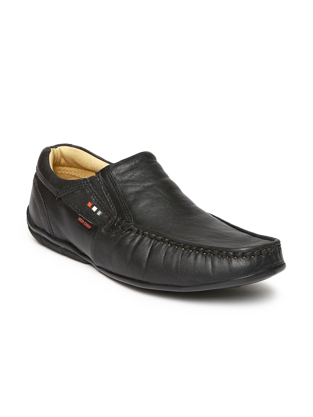Red Chief Men Black Leather Semiformal Shoes