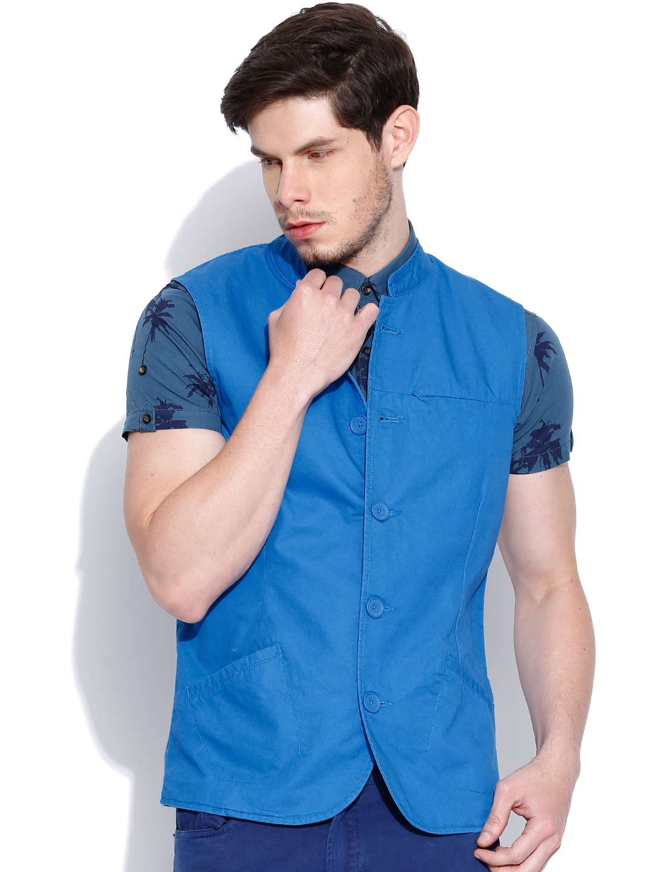 United Colors of Benetton Blue Sleeveless Jacket