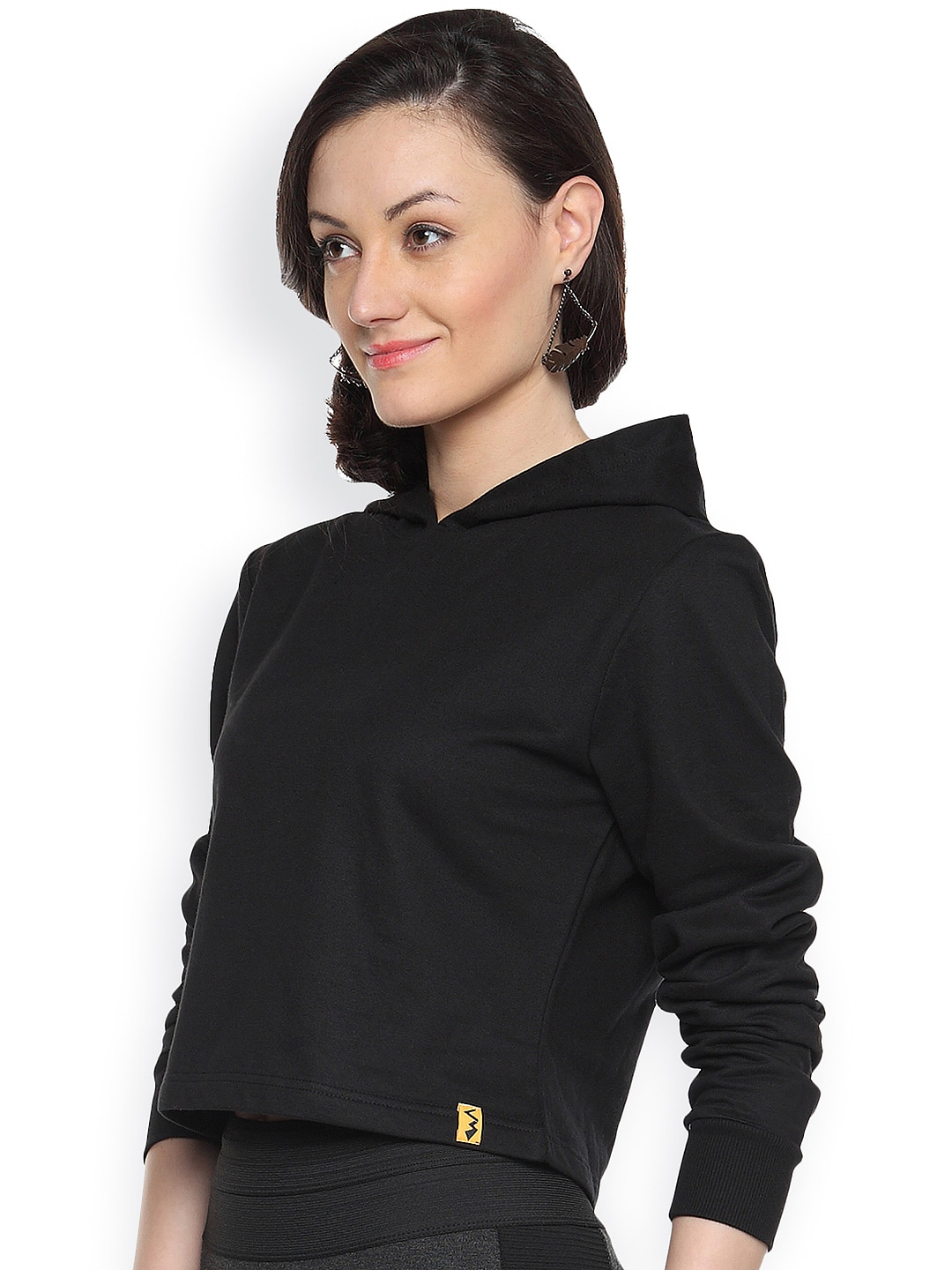 Campus Sutra Black Cropped Sweatshirt
