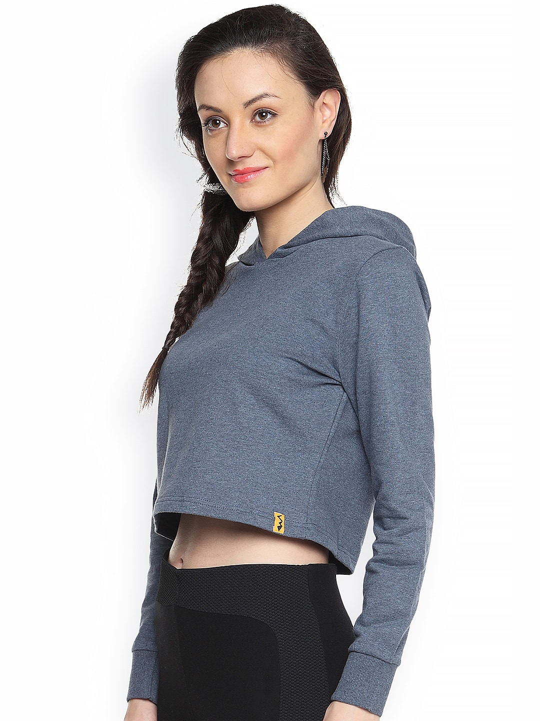 Campus Sutra Blue Cropped Sweatshirt