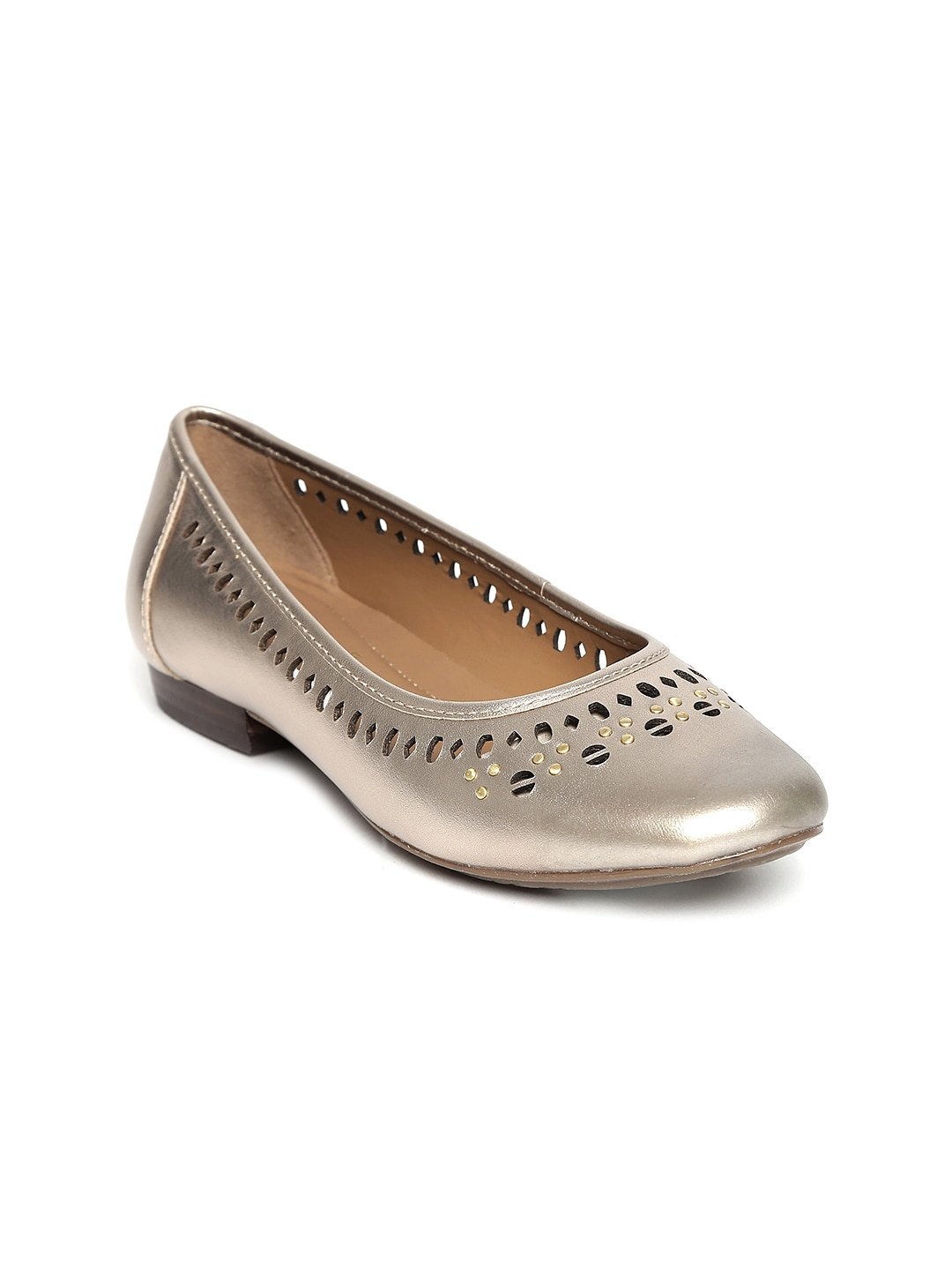 Clarks Women Gold-Toned Leather Ballerinas