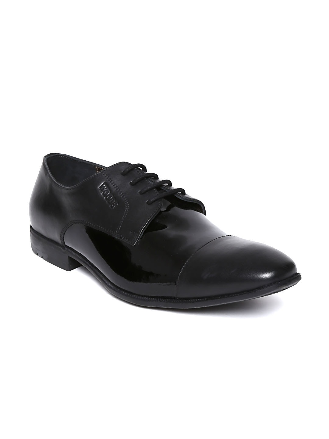 Woods Classic Men Black Crust Leather Formal Shoes