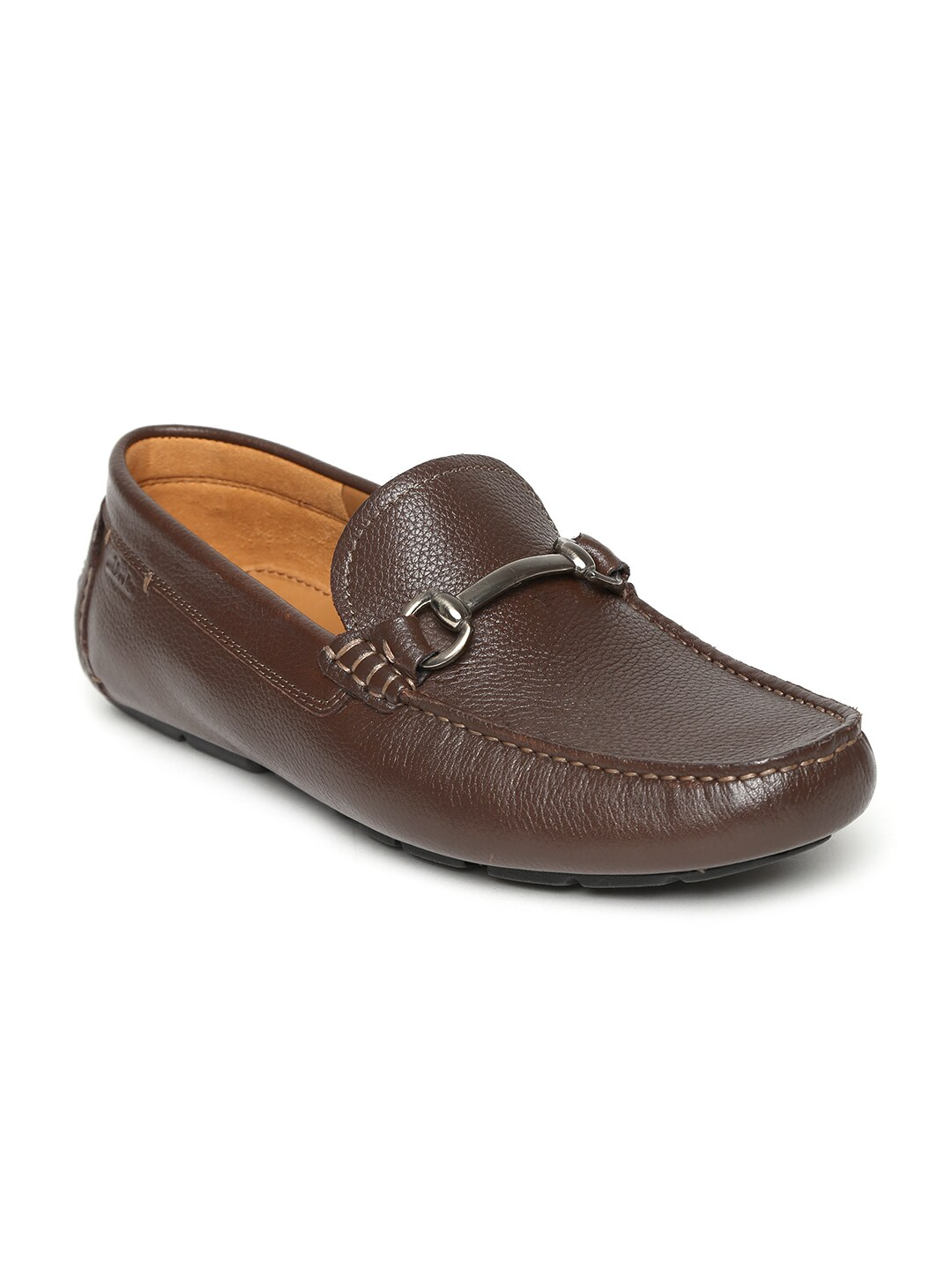 Clarks Men Brown Davont Ride Leather Loafers