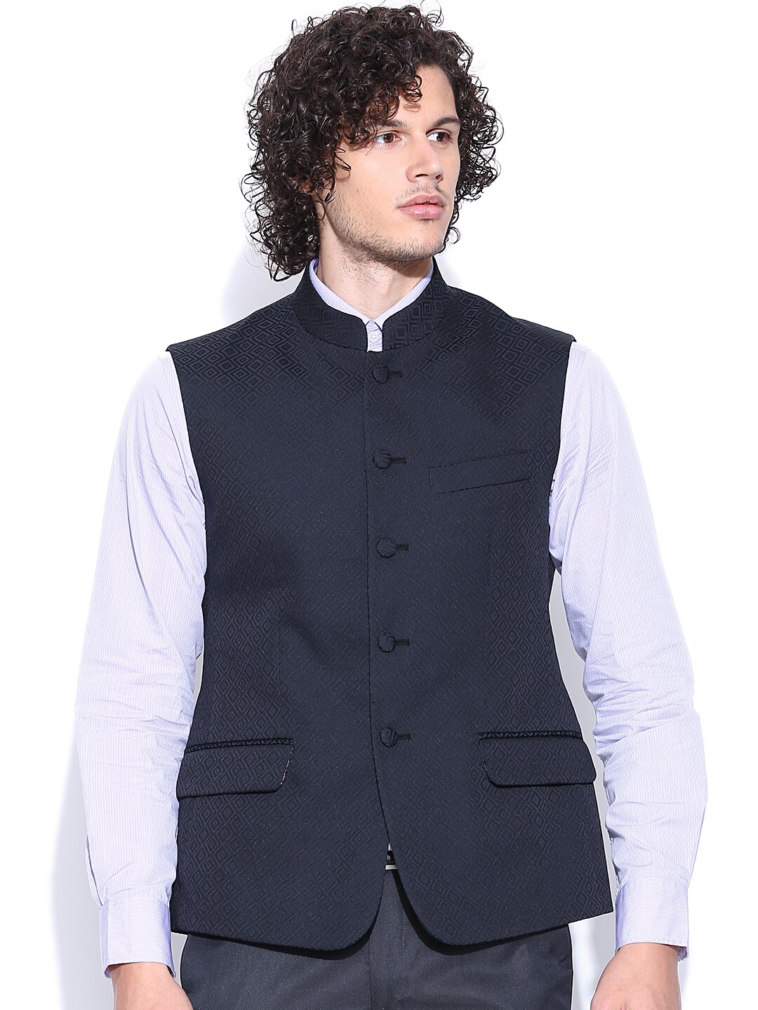 Arrow Black Nehru Jacket with Woven Pattern