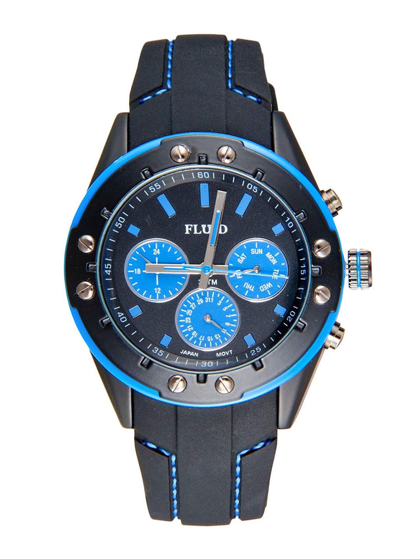 FLUID Men Black & Blue Dial Watch FL-103-BK-BL