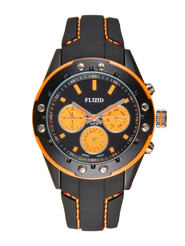 FLUID Men Black & Orange Dial Watch FL-103-BK-OR