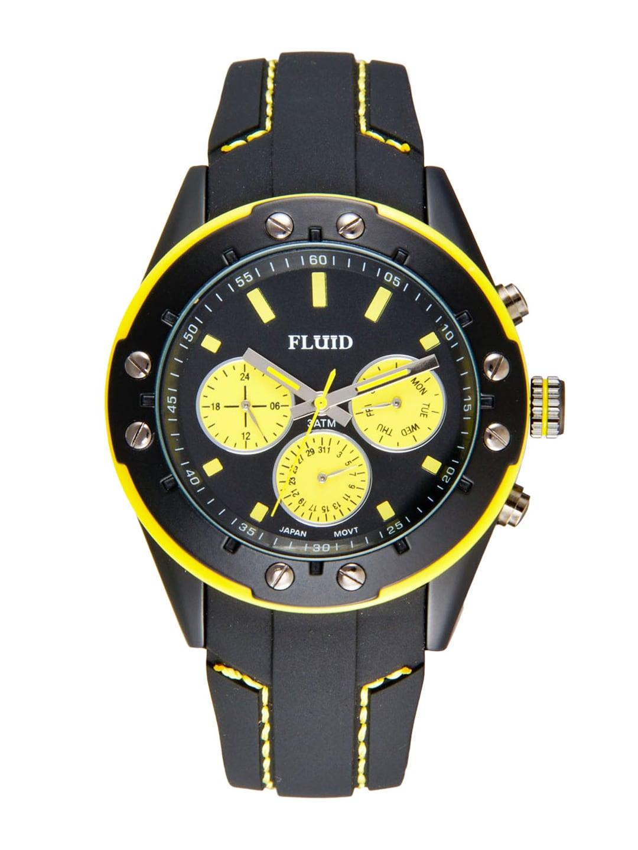 FLUID Men Black & Yellow Dial Watch FL-103-BK-YL