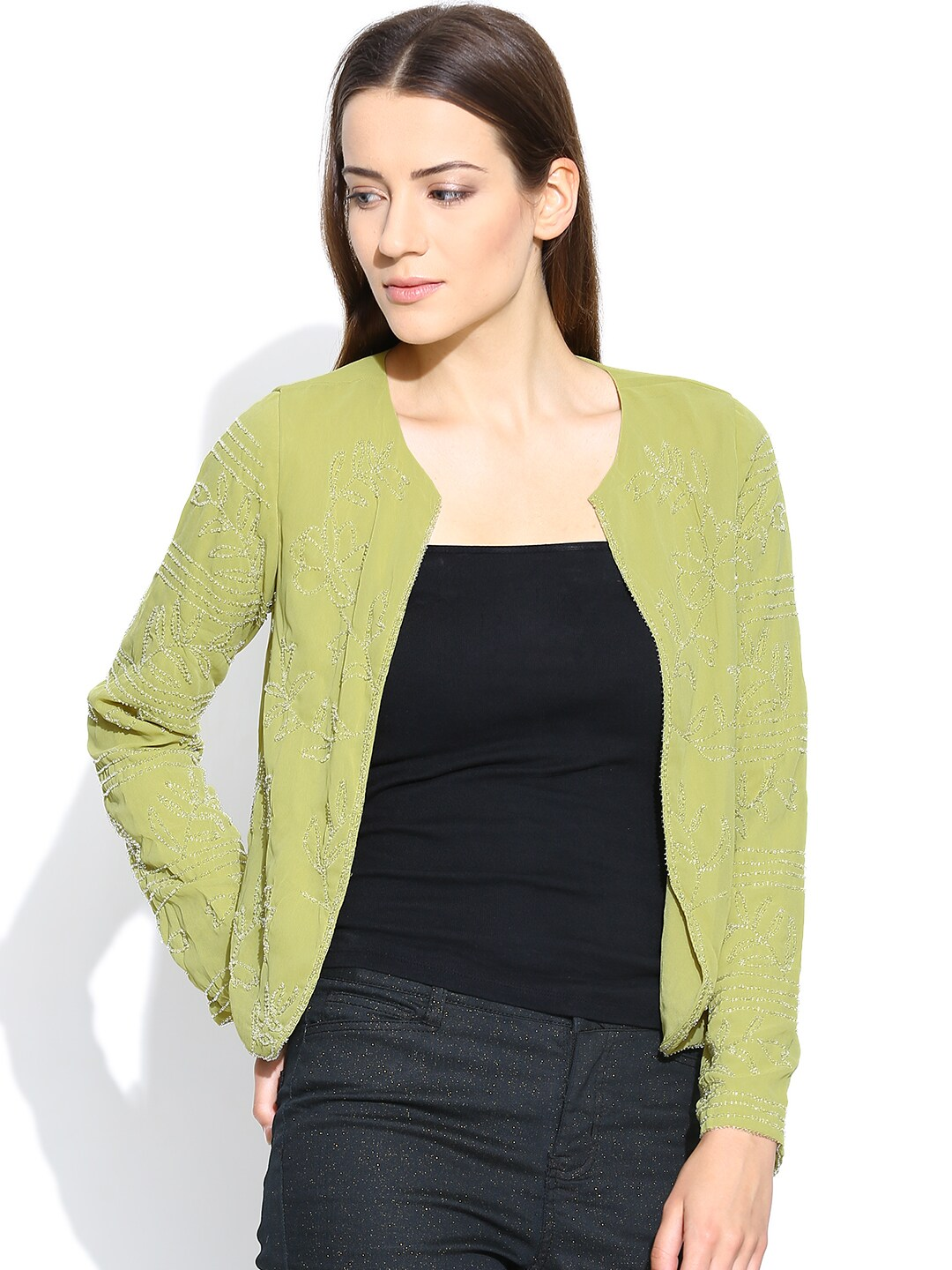 Vero Moda Green Beaded Shrug
