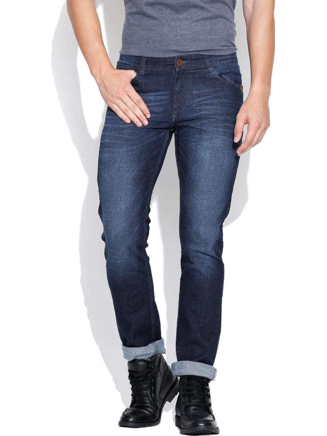 John Players Blue Washed Slim Jeans