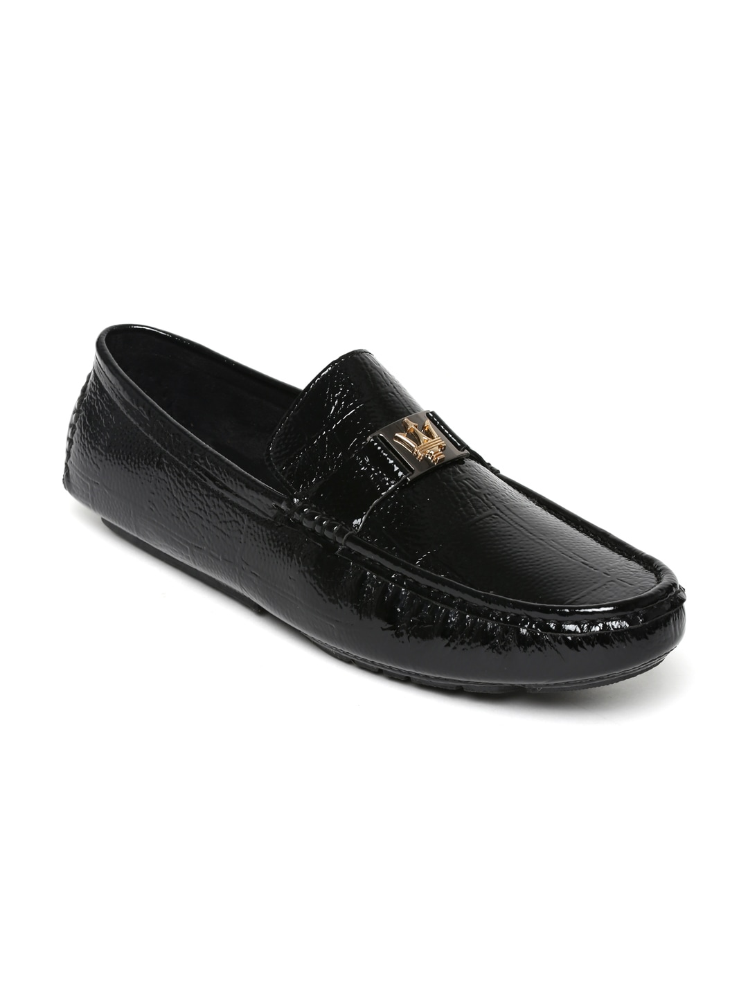 San Frissco Men Black Patent Leather Loafers