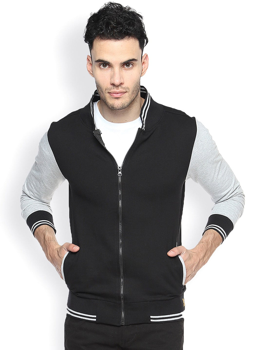 Campus Sutra Black Varsity Jacket
