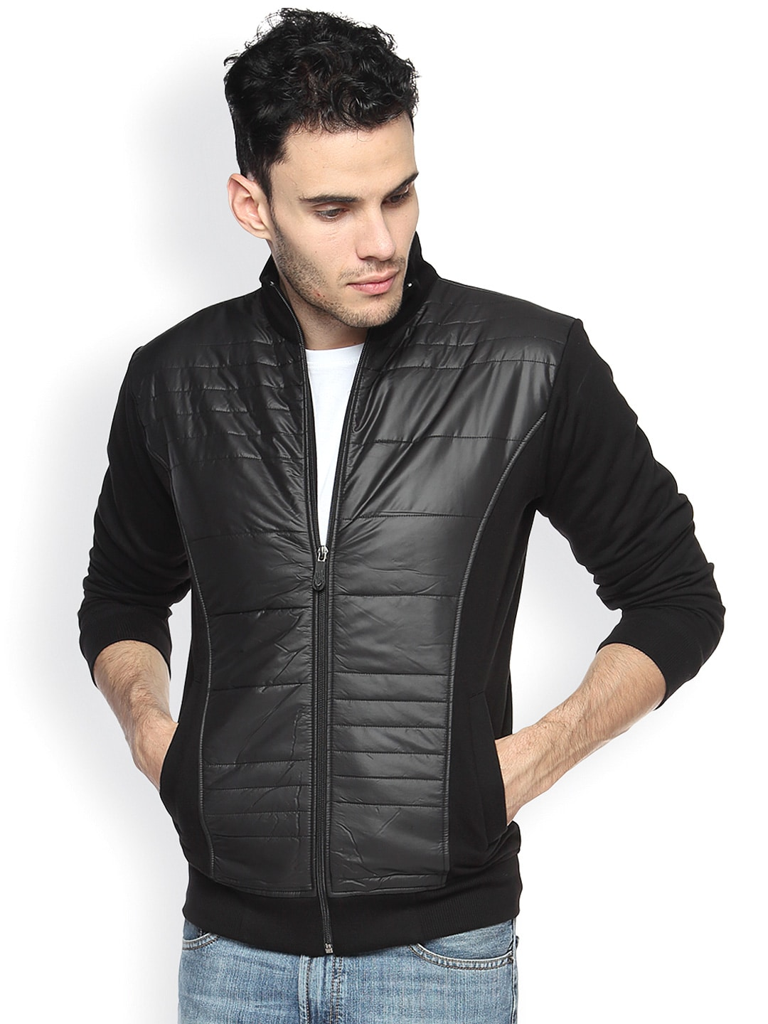 Campus Sutra Black Bomber Jacket