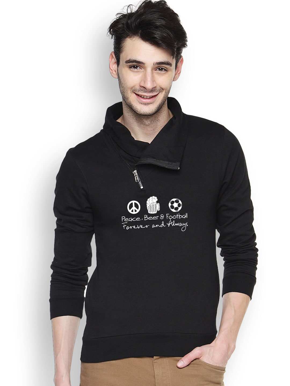 Campus Sutra Black Printed Sweatshirt
