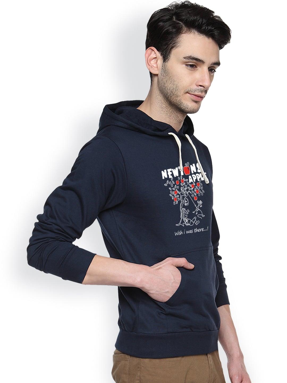 Campus Sutra Navy Printed Hooded Sweatshirt