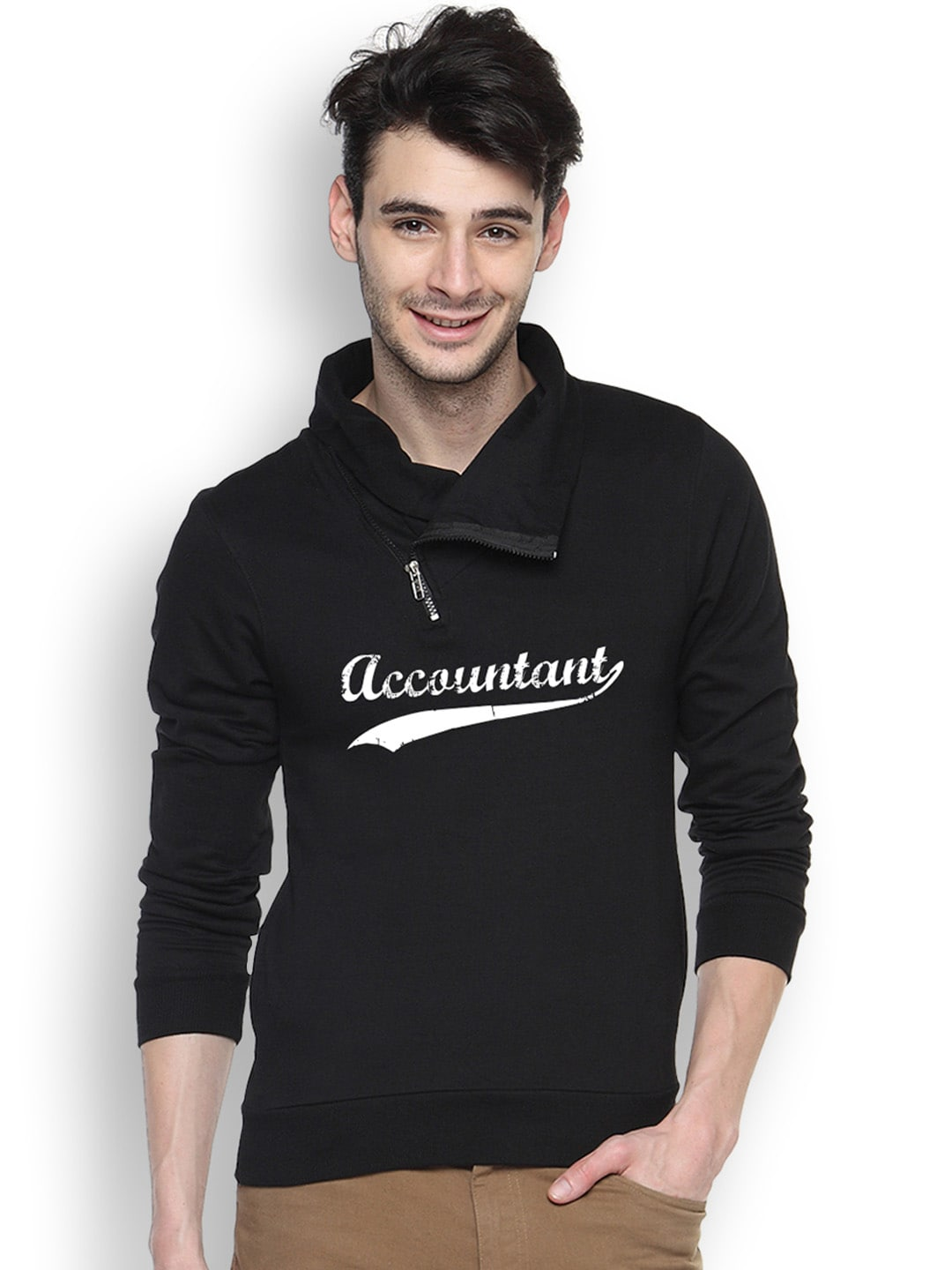 Campus Sutra Black Printed Hooded Sweatshirt
