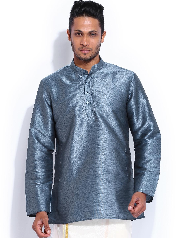 Mangalyam British Club Blue Silk Short Kurta