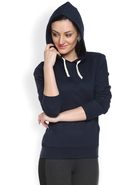 Campus Sutra Navy Hooded Sweatshirt