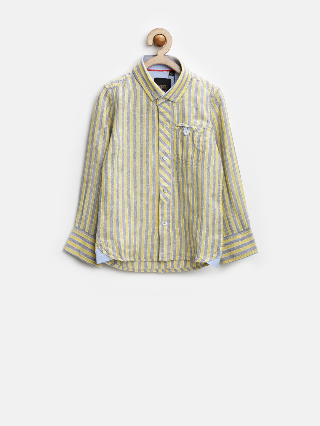 Gini and Jony Gold Boys Yellow & Grey Striped Linen Shirt