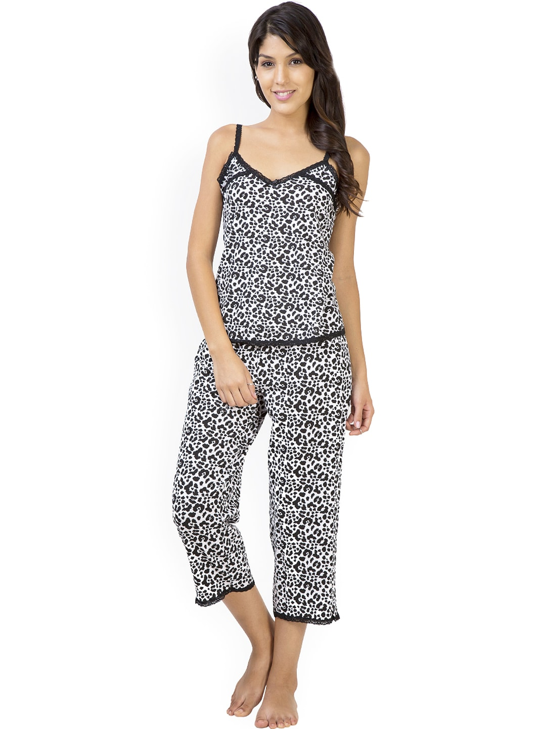 Penny White & Black Animal Print Lounge Set PY55025034COLEP