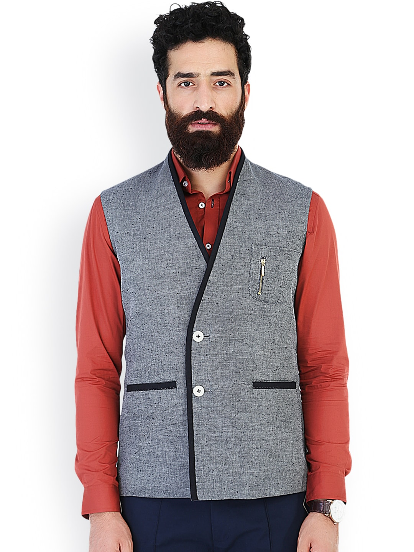 MR BUTTON Grey Linen Slim Fit Nehru Jacket