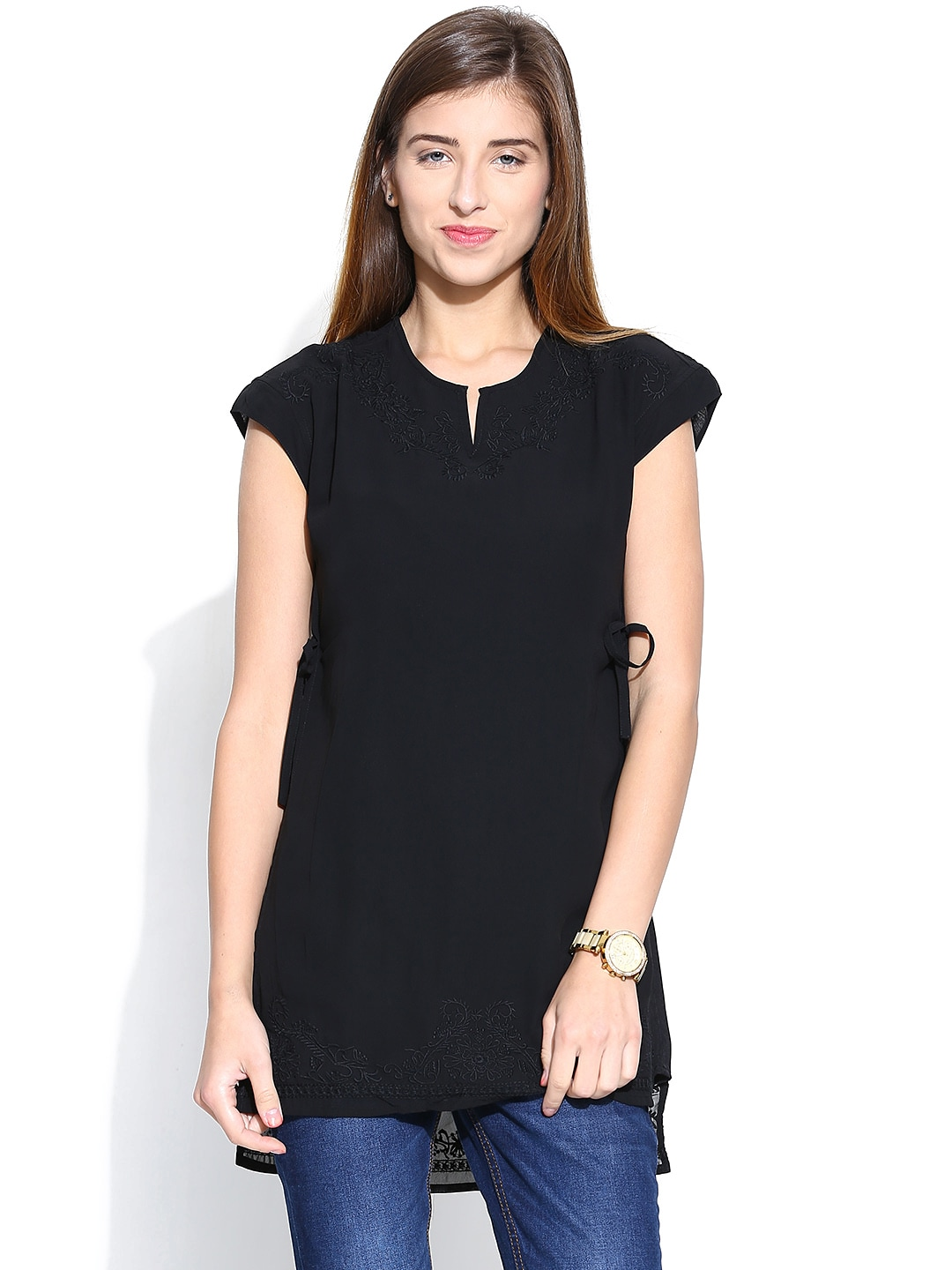 Wills Lifestyle Black Embroidered Layered Tunic