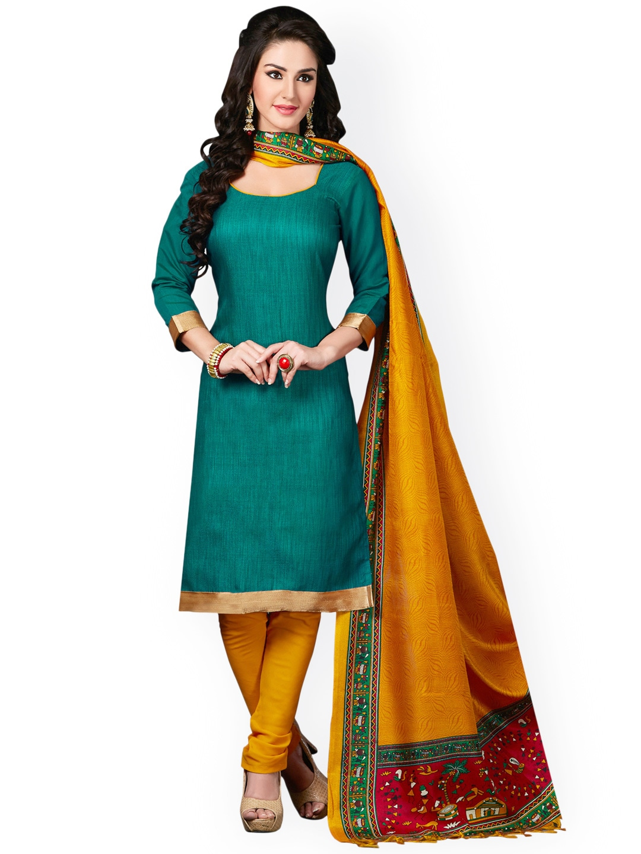 Saree mall Green & Mustard Yellow Silk Unstitched Dress Material
