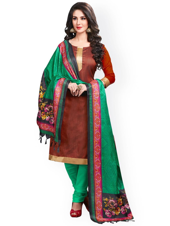 Saree mall Maroon & Green Silk Unstitched Dress Material