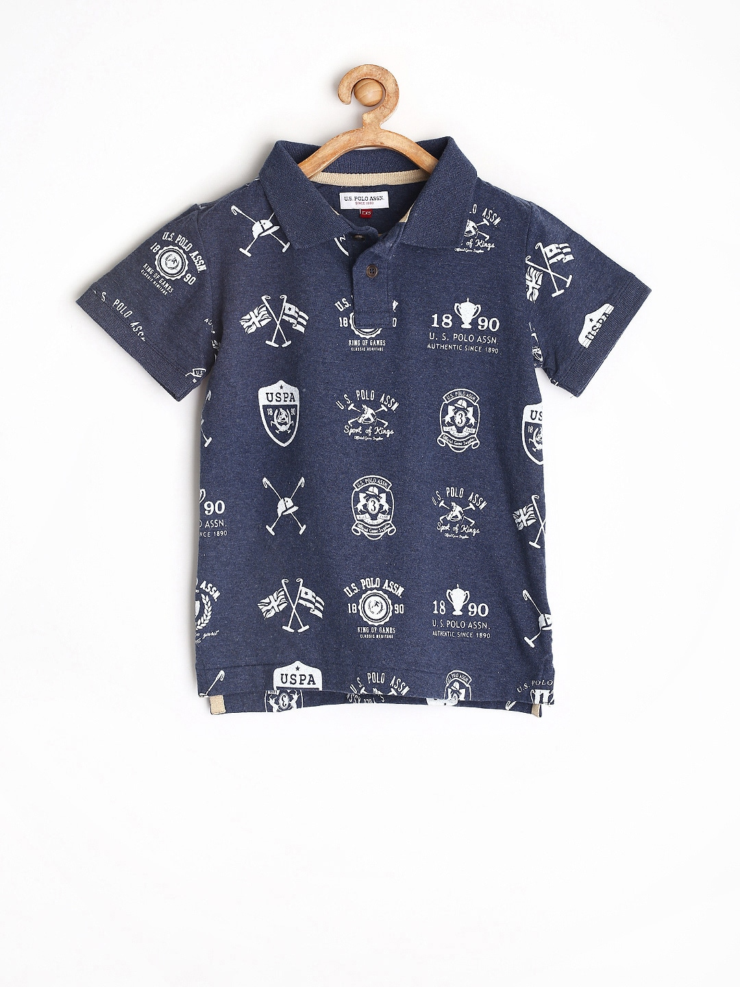 U.S. Polo Assn. Kids Boys Navy Printed Polo T-shirt