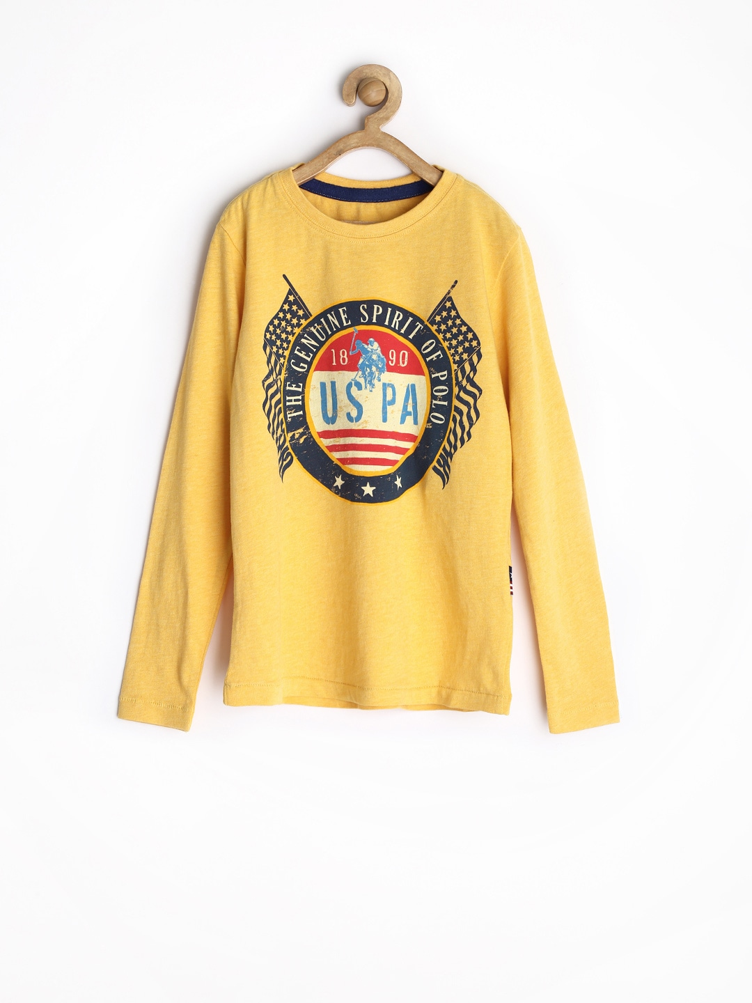 U.S. Polo Assn. Kids Boys Mustard Yellow Printed T-shirt