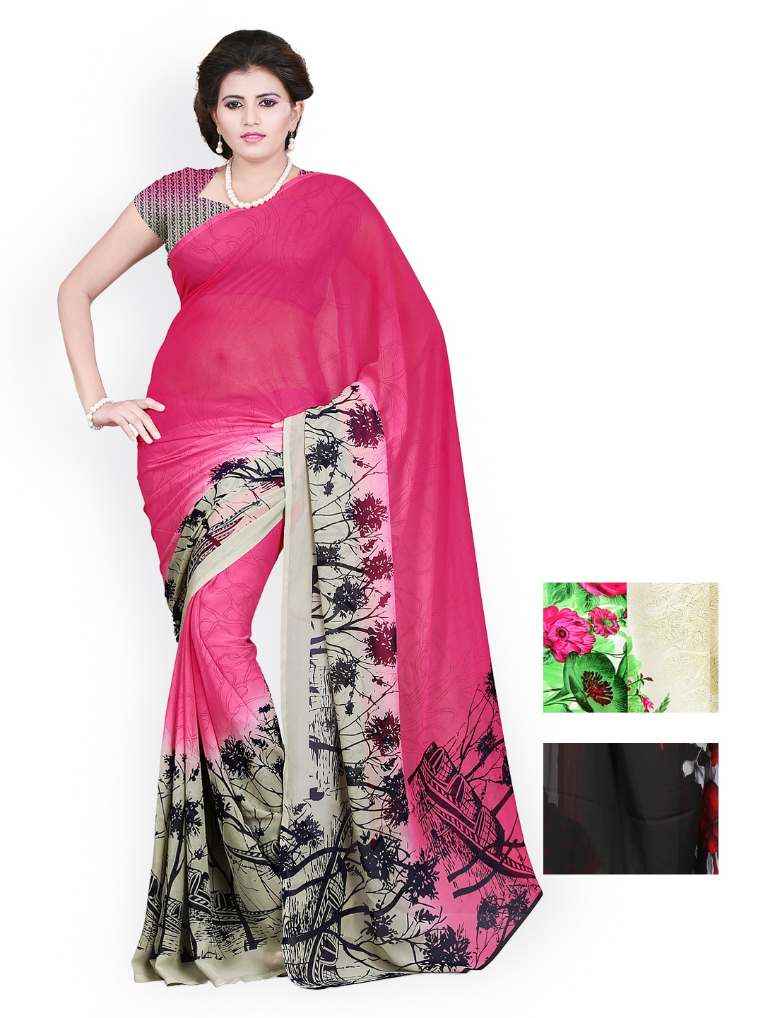 Heena Selection of 3 Georgette & Crepe Printed Sarees