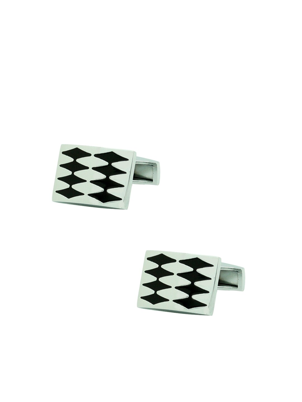 The Tie Hub Silver-Toned & Black Cufflinks