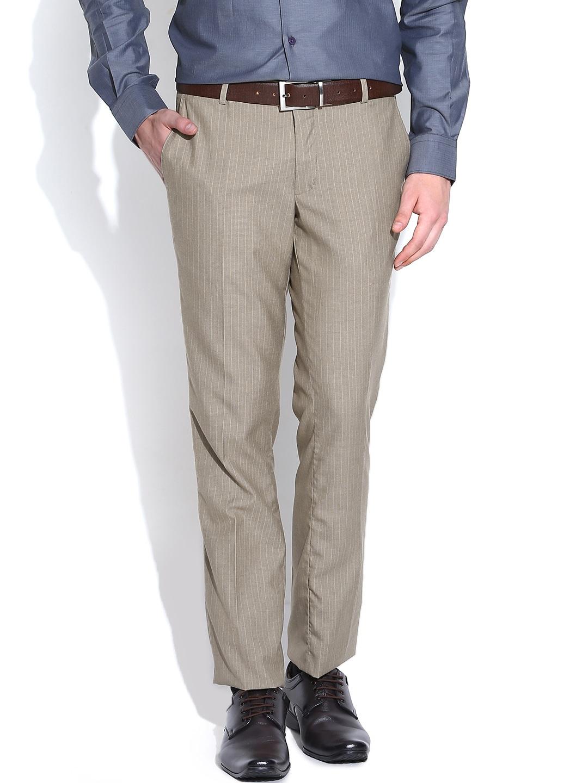 John Players Beige Striped Slim Fit Semiformal Trousers