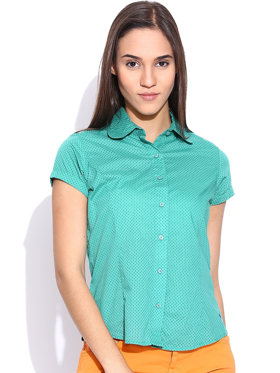American Swan Sea Green Printed Shirt