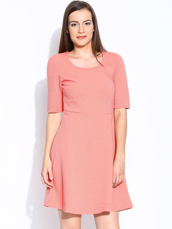 buy vero moda orange fit flare dress apparel for. Black Bedroom Furniture Sets. Home Design Ideas