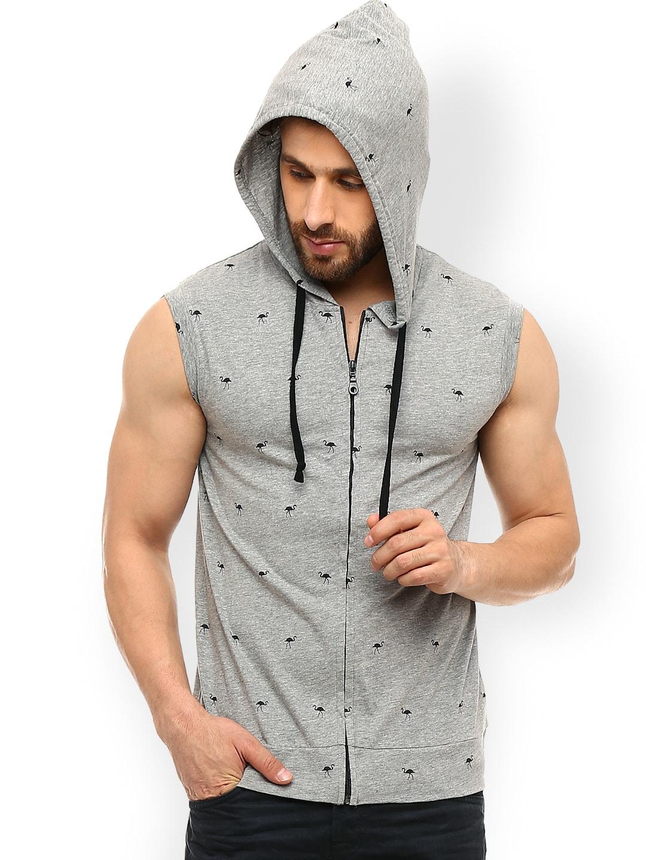 GRITSTONES Grey Melange Printed Hooded Sleeveless Jacket