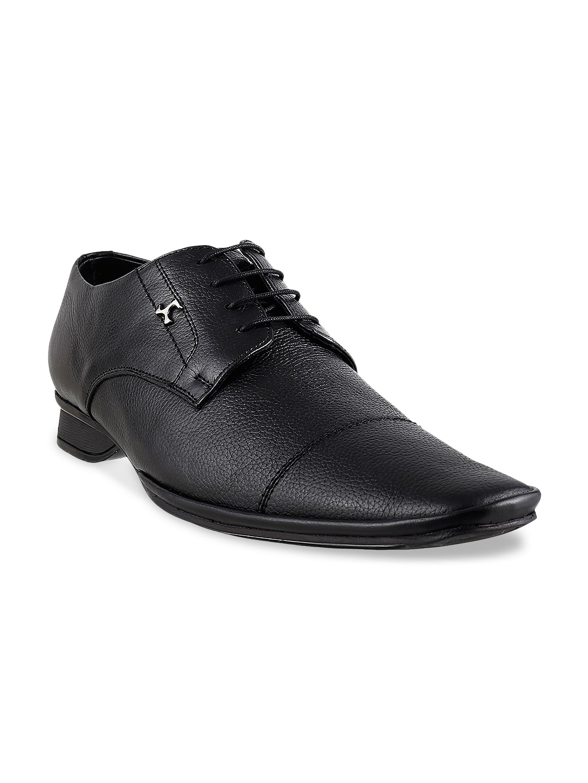Mochi Men Black Leather Formal Shoes