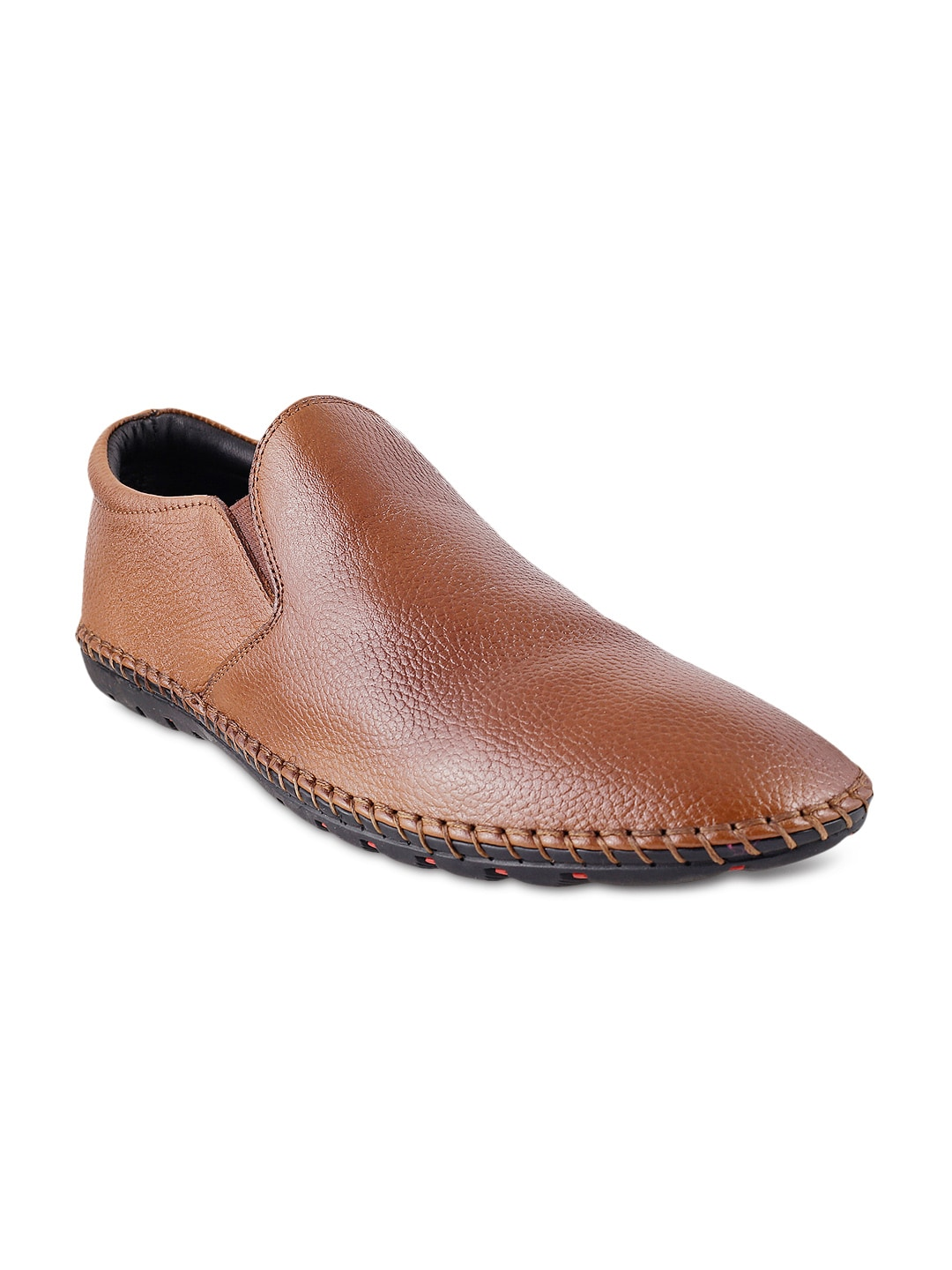 Mochi Men Tan Brown Leather Semiformal Shoes